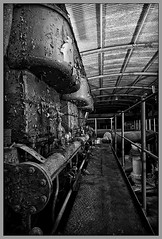 (The New Motive Power) Tags: roof shadow 2 two blackandwhite texture abandoned industry rock metal dark underground peeling paint industrial moody empty military passages canond60 spooky hidden caves urbanexploration walkway rusted ww2 curve tunnels caverns gibraltar chambers powerstation worldwar admiralty engineers dormant urbex calpehole