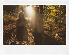 Zombie Love. (josh.hofer) Tags: autumn fall forest polaroid engagement blood woods warm zombie raleigh glenwood gore flare fujifilm zombies instantcamera engagementphotos guts sunflare instax 210 umsteadpark polaroidcamera engagementshoot instax210 fujifilminstax210 heatheryeske stevesauls zombieengagement