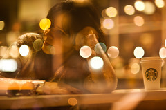 Dream. (LeonRodrigues) Tags: portrait newyork lights starbucks reflexion
