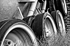 (BlackRockBacon) Tags: tank wheels tread blackandwhite nik silverefexpro georgepattonmuseum detail pentax k5 tamron1750