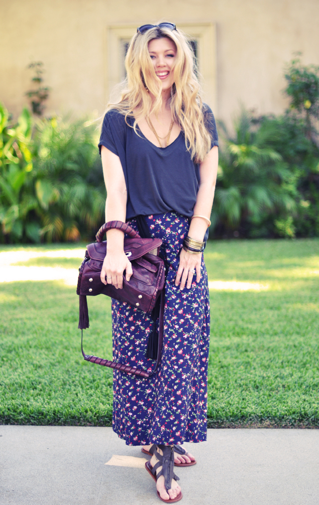 floral print maxi  skirt with sandals     and over sized tee