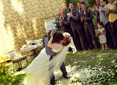 Their First Kiss (Simply Vintagegirl) Tags: wedding love smile outside outdoors groom bride joy marriage husband wed bethany wm romance ring will wife bouquet embrace inspire marry firstkiss