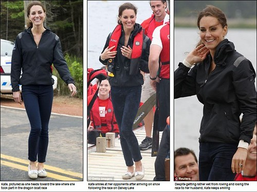 Prince William rules the waves as he beats Duchess of Cambridge in dragon boat race but despite the drizzly day Kate Middleton looks simply 20
