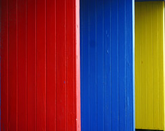 beach huts (Rob J Young) Tags: blue red yellow beachhut swanage