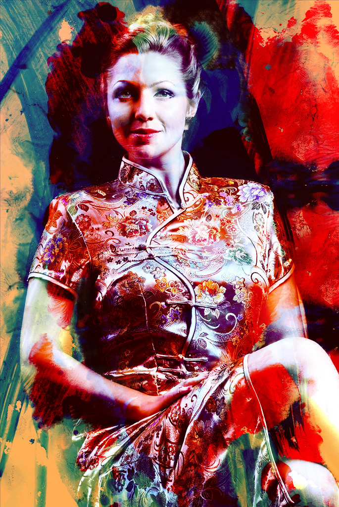 Portrait of the girl in gold Chinese dress.