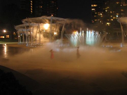 The new fountains at the Scioto Mile