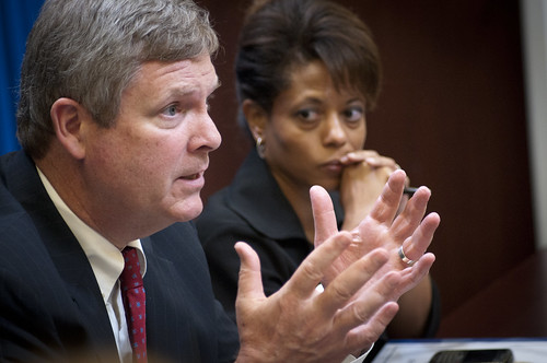On Wednesday, Jul. 6, 2011, Agriculture Secretary Tom Vilsack attended a meeting at the White House in Washington, DC, with President Barack Obama, the President's Domestic Policy Adviser Melody Barnes and rural communities leaders from across the country for the White House Rural Champions of Change event. The purpose of this meeting is to strengthen rural communities and promote economic growth. Prior to coming here, they were posed with a question about, what should/should not the government be doing to strengthen rural communities and promote economic growth. USDA photo by Lance Cheung.