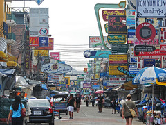 Khaosan Road After Night (Marco Di Fabio) Tags: auto road street city morning people signs car night buildings advertising thailand noche calle edificios san asia neon strada colours publicidad display bangkok capital tailandia ciudad spot colores tourists east via persone thai tuktuk after oriente capitale despues orient colori notte manana est cartel khao citt turistas indochina palazzi pubblicit insegne mattina khaosanroad banglampoo palacios krungthepmahanakhon dopo senal krungthep banglamphoo cohe indocina bagkokcity