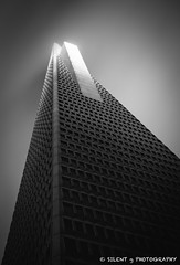 Pyramid's Last Light (Silent G Photography) Tags: sf sanfrancisco california ca longexposure sunset blackandwhite bw storm fog architecture clouds downtown minimal explore transamericapyramid reallyrightstuff cloudmovement explored nd110 10stopndfilter nikond7000 markgvazdinskas silentgphotography