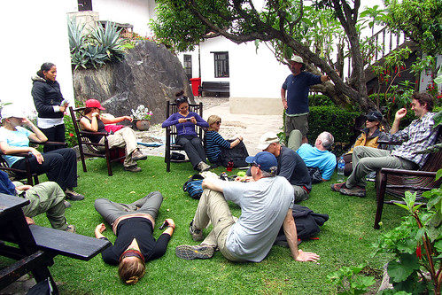 Relaxing at the train station in Ollantaytambo