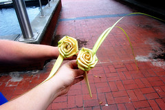 Roses from palm fronds