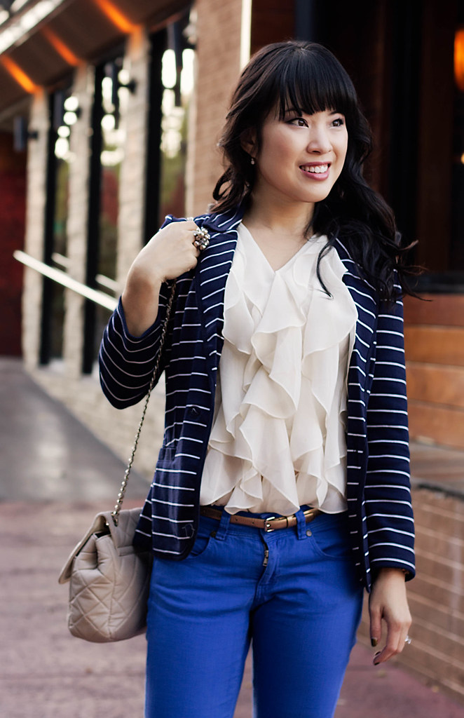 charlotte russe navy striped blazer, forever 21 cream ruffle vest, asos cobalt skinny jeans, sole society marco santi dash nude pumps, mk5430, yesstyle beige quilted flap purse, the limited bobble ring, ann taylor perfect skinny gold belt