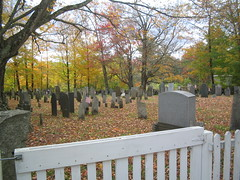 Cemetery in Center of Salisbury, NH #2 (catchesthelight) Tags: blue trees red orange white color green fall cemetery leaves yellow fence maple scenery colorful moments newengland nh fallfoliage foliage stonewall birch maples gravestones momentos picket leafpeeping itsmulticolored centralnewhampshire fallfoliagephotography