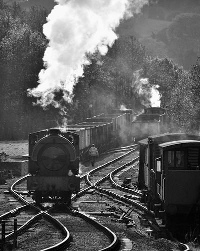 Industrial Steam (geoffspages) Tags: monochrome geotagged industrial railway steam foxfield geo:lat=5299887846390517 geo:lon=2036941466270491
