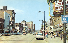 Broadway 1965; Gary, IN ([jonrev]) Tags: old 1920s art history retail architecture vintage hotel theater downtown view theatre furniture postcard towers broadway indiana palace historic nostalgia motorola gary alive 1960s concept genesis carpets goldblatts midcentury