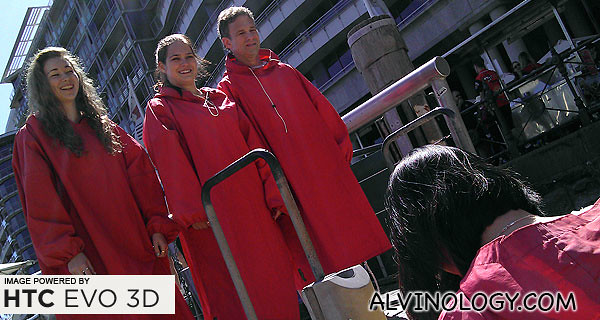 Boarding the jet boat in red raincoats