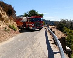 046 A Surprise Appearance By Los Angeles Fire Truck 35 (saschmitz_earthlink_net) Tags: california losangeles walks hiking hike firetruck hollywood santamonicamountains hollywoodhills 2011 mountleedrive firetruck35