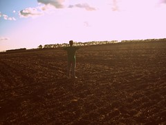 Isolated (ViSiOnS &) Tags: trees sky sun tree field clouds hands arms soil dirt picnik shelterbelt treebelt