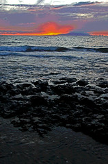 atomic sunset (bluewavechris) Tags: ocean sea sky color beach water clouds island hawaii lava surf scenic wave maui tidepool lanai