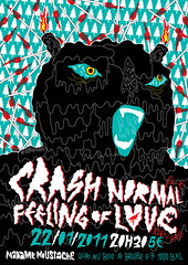 crashnormal-mmoustache-webg (RobinRenard) Tags: brussels monster illustration poster flyer screenprint punk garage gig vice bruxelles electro fuzz garagepunk crashnormal bornbadrecords madamemoustache robinrenard