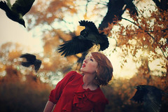 Reaping. (-Fearless-) Tags: autumn red portrait selfportrait fall halloween girl leaves yellow photoshop self hair pull happy gold redhead surround catch crow themed crows autumnal happyhalloween reaping