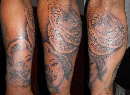 Marilyn Monroe Money Rose Tattoo by Nicholas Riley