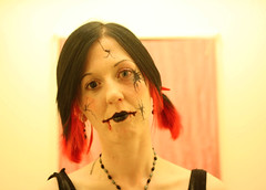 broken doll (lauramute) Tags: blue woman black eye halloween broken girl face costume blood doll makeup cuts cracked
