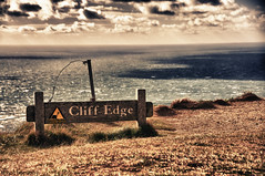 Cliff Edge (Michael - Photography) Tags: sea england cliff water sign clouds photography michael wasser britain great wolken edge eastbourne kante klippe mphotographydd