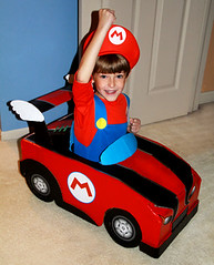 final mario kart halloween costume diy handmade from a plain cardboard box by isewcute by isewcute