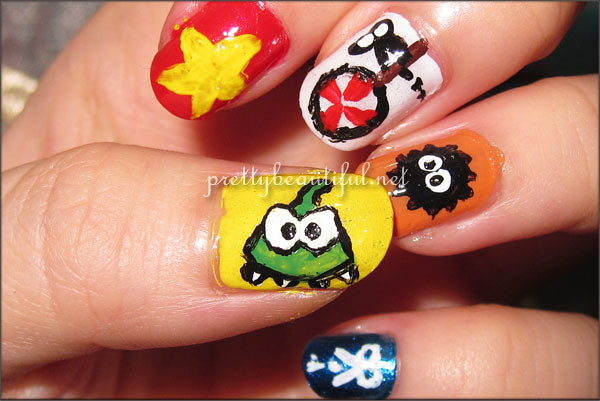 Cut the Rope Nail Art Complete