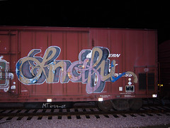 SNAFU (TRUE 2 DEATH) Tags: railroad train graffiti tag graf trains bn railcar etc spraypaint boxcar railways railfan freight bnsf reefer freighttrain floater snafu rollingstock wfe westernfruitexpress benching freighttraingraffiti bnfe bnsf795876