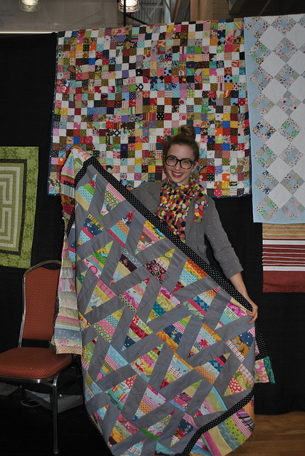 Rachael's finished Irish chain quilt and triangle quilt top