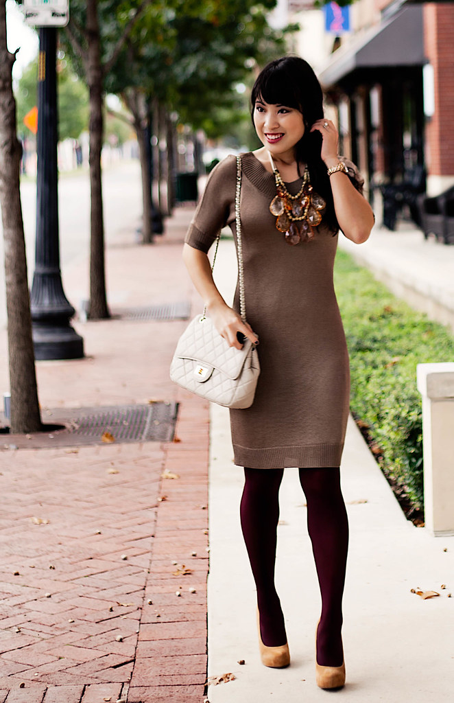 banana republic taupe dress, amrita singh teteo necklace, bakers karen wp taupe suede pumps, yesstyle beige quilted flap purse, michael kors rose gold small runway mk5430 watch, forever 21 burgundy tights