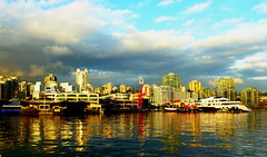 North Vancouver skyline (peggyhr) Tags: ocean blue light sunset red sky white canada water skyline vancouver clouds buildings reflections boats shadows bc northshore yachts ochre highrises lonsdalequay peggyhr 100commentgroup mygearandme blinkagain seabusdock p1040874a