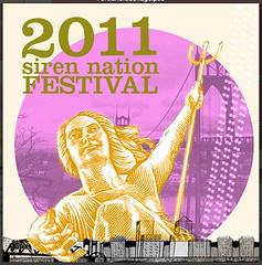 Text reads 2011 Siren Nation Festival over a hand-drawn black and white picture of the Portland skyline