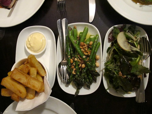Fries, asparagus, salad