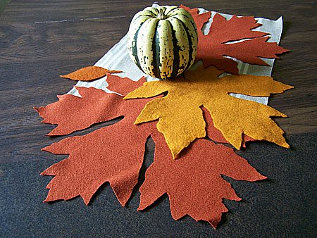 felt leaves on table