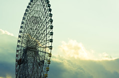 Ferris wheel and sky,Yokohama City, Japan (flaminghead Park) Tags: sky japan vertical fun outdoors photography tokyo day nopeople ferriswheel yokohama majestic enjoyment japaneseculture partof traveldestinations colorimage lowangleview artscultureandentertainment kanagawaprefecture