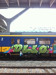 Dutch train vandalism (010fuss) Tags: urban art netherlands dutch station graffiti rotterdam pieces ns kunst nederland trains banana vandalism hiphop piece bombing 010 burners 2011 vandalisme 010fuss