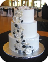 White Wedding Cake with Silver, Black and Pearl Jewels accented with Whimsical Roses (Graceful Cake Creations) Tags: wedding roses white black cake silver designer traditional jewelry pearls diamond reception butter round romantic pearl bling elegant jewels applique pewter emerald whimsical jeweled fondant buttercream pearlized elegantweddingcake cakejewelry blackandwhiteweddingcake fondantdiamondring gracefulcakecreations silverandwhiteweddingcake