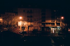 ... (icomewhenieatcaponata) Tags: winter light france cars film wet car rain architecture night analog buildings lights hotel lomo lca lomography fuji view traffic superia iso 400 fujifilm lorraine metz フランス xtra 法国 франция residhome