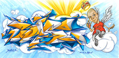 Dare by Uset (Youset) Tags: sky cloud colour pen pencil graffiti sketch wings king rip marker dare koc uset youset