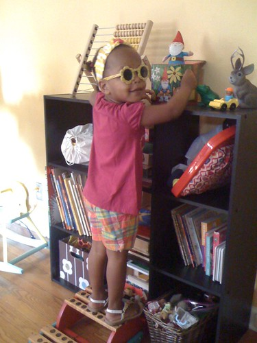 reason #3:  she decides she needs her sunglasses to be able to see...indoors