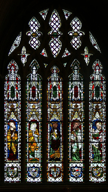 King Solomon and four Prophets Medieval stained glass tewkesbury abbey