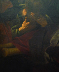 Caravaggio, Death of the Virgin with detail of John (?)