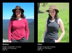 female person diet beforeandafter weightloss weight paleodiet