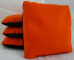 Orange & Black Suede Dual Sided Cornhole Bags