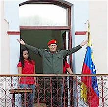 President Hugo Chavez greets the Venezuelan masses upon his return from Cuba for medical treatment. Chavez is committed to building socialism in his country and throughout Latin America. by Pan-African News Wire File Photos