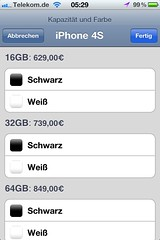 Apple iPhone 4S (Preise in der Apple Store App)