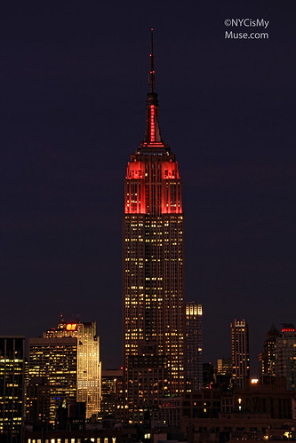 "Empire State Building dressed all in red in honor of Jumpstart's ""Read for the Record"""